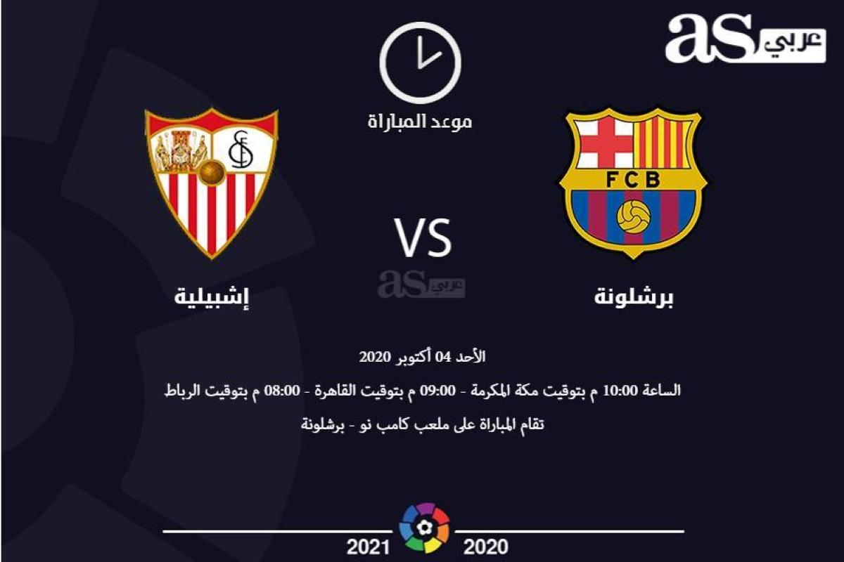 موعد مباراة برشلونة مع إشبيليه اليوم الأحد الموافق 4/10/2020 والقنوات الناقلة لها